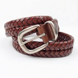"""Coach Braided Woven Brown Leather Belt 30"""""""